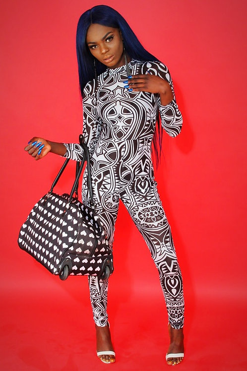 Bella Black Aztec Jumpsuit
