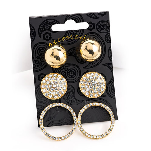 Carre three pair crystal ball and round earring set