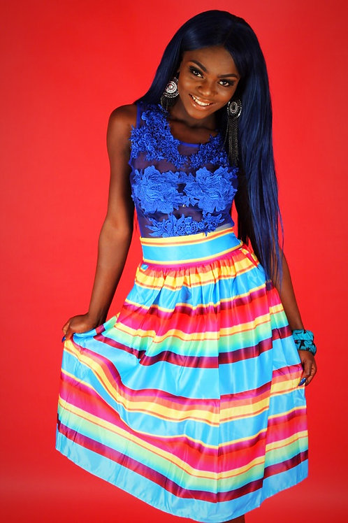 Jai Rainbow Stripes Print High Waist Full Skirt