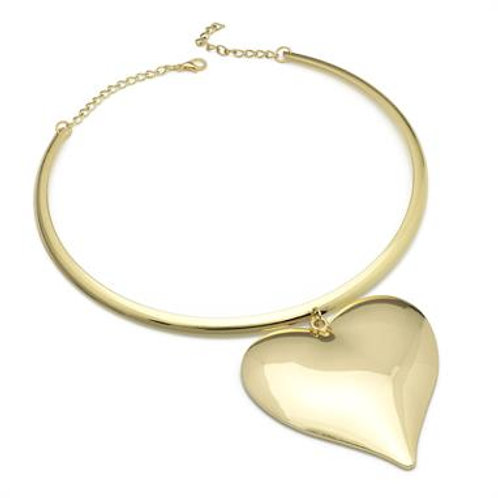 Teno gold heart design metal collar necklace