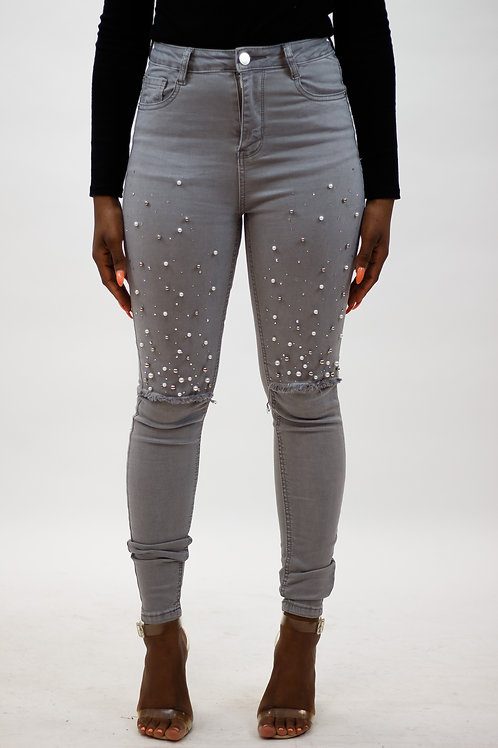Pearls Gem Trim Ripped Jeans