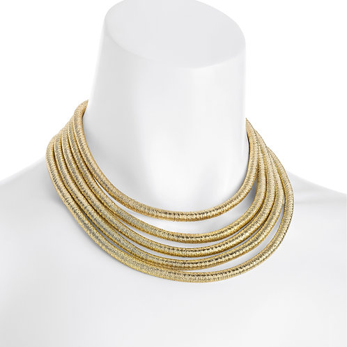 Wendy five row gold necklace with magnetic clasp