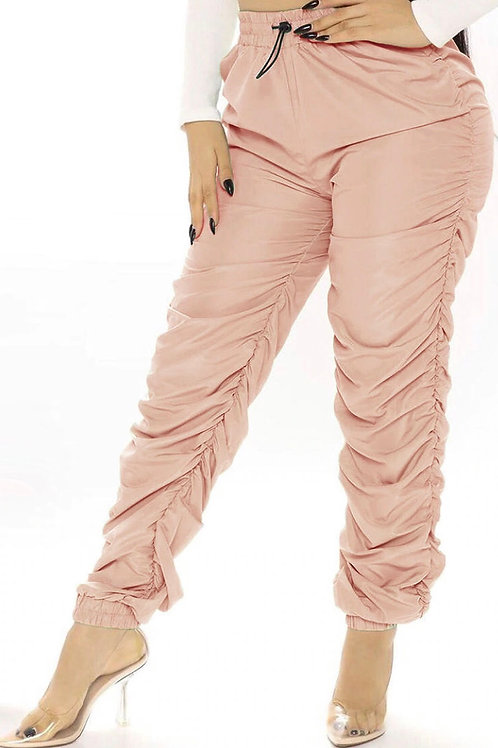 Sassy Wet Look Faux Leather Ruched Trousers