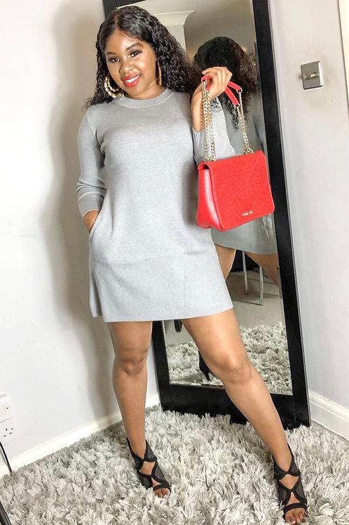 Thelna Grey Ribbed Two Pocket Jumper Dress