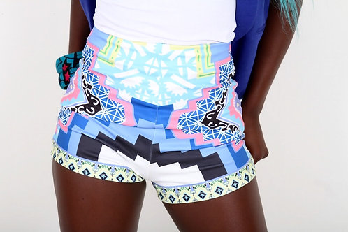 Dominic Multicoloured High Waisted Shorts