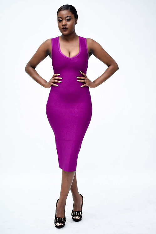 Linux Gold Button Cutout Bandage Dress