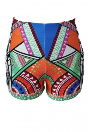 Diamond Multicolor Tribal High Waist Shorts