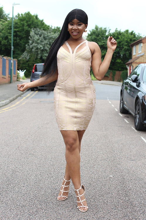 Denlia Gold Bandage Dress
