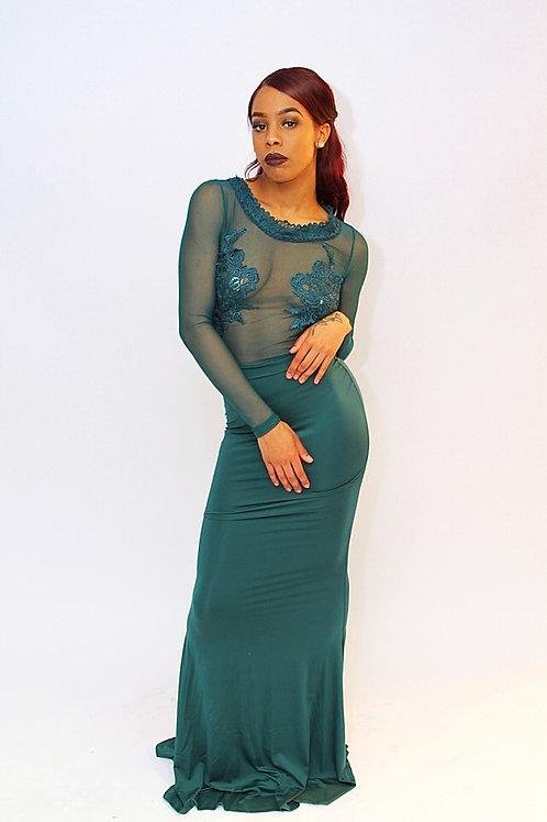 Naomi Green Long Sleeve Lace Mesh Mermaid Party Dress
