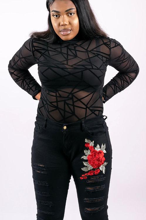 Jade Black Sheer Mesh Geometric Velvet Bodysuit