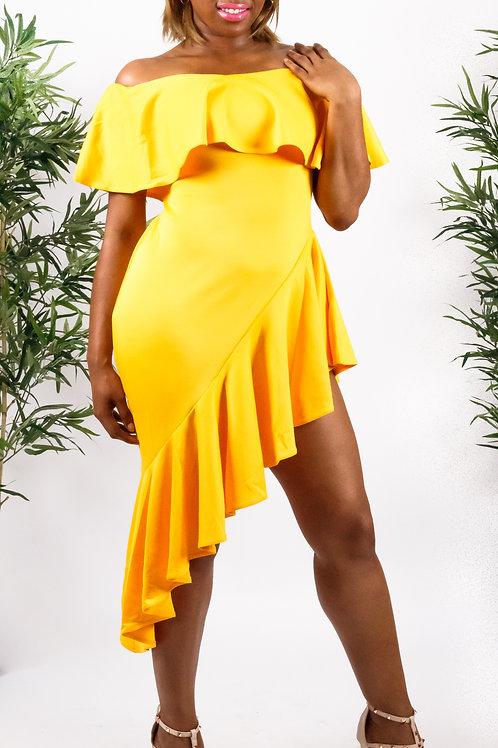 Lara Yellow Asymmetric Ruffle Off Shoulder Dress