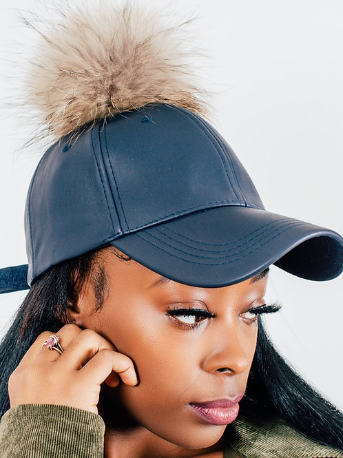 Chrissy Brown Leather Fur Baseball Hats