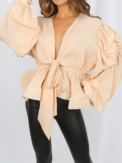 Vanola Pleated Shoulder Top