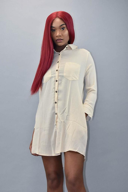 April Long Sleeve Button Down Crepe Shirt Dress