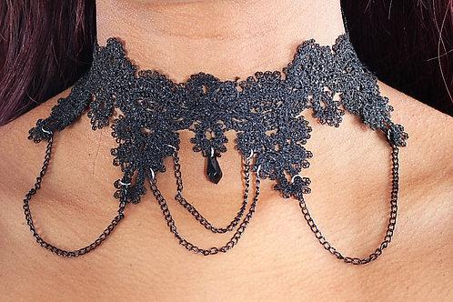 Ally black choker necklace