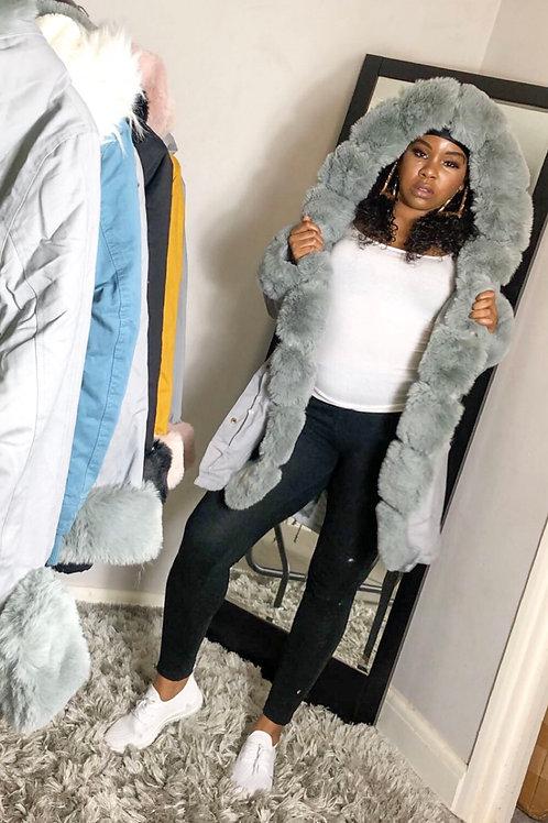 Bella Grey Fur Hoody Puffer Jacket