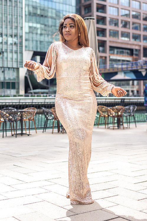 Cantrell Sequin Slashed Sleeve Maxi Dress