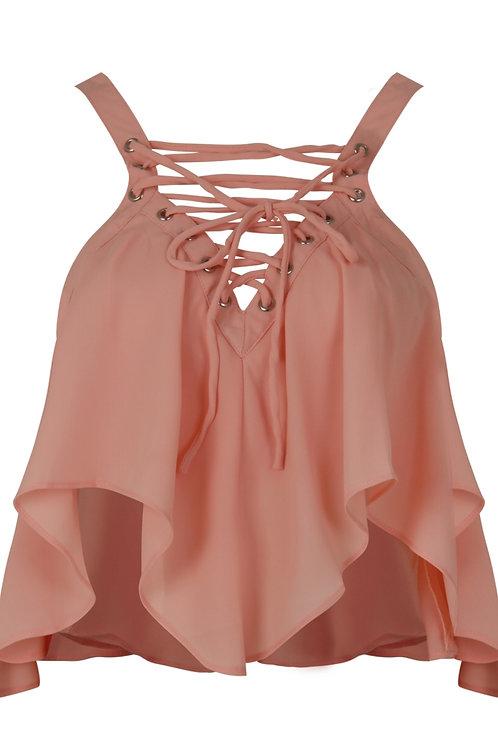 Lauren lace up ruffle pink crop top
