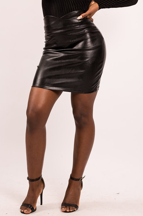 Pearl Faux Leather High Crossover Waist Skirt