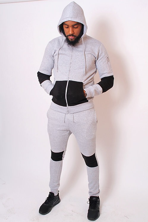Ying Contrasting Ribbed Colour Block Hooded Tracksuit