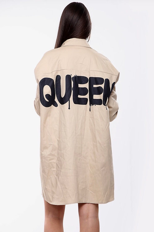 Hail Queen Beige Shirt Dress