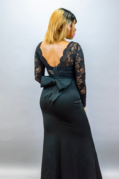 Mel Black Lace Long Sleeve Bow Back Maxi Dress