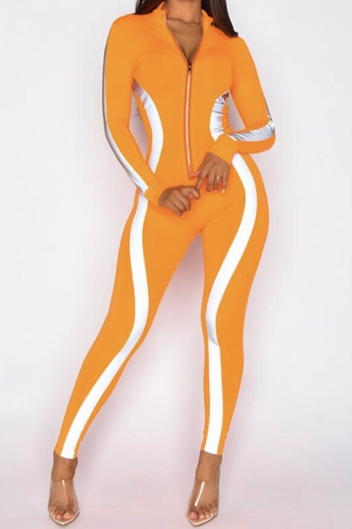 Novala Orange zip up Jumpsuit