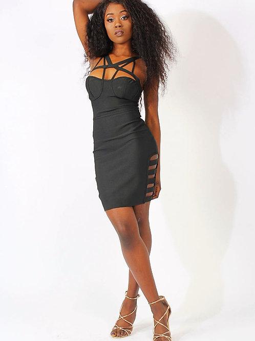 Rosie Black Strappy Bustier Bandage Dress