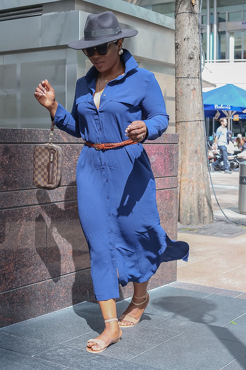 Delia Dark Blue Slit Maxi Shirt Dress