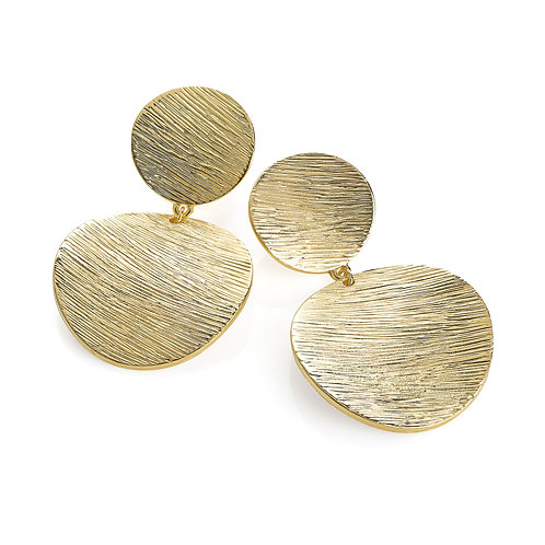 Liel gold double disc drop earring