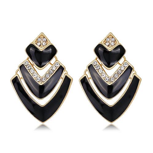 Gina Black Diamanté Drop Earring
