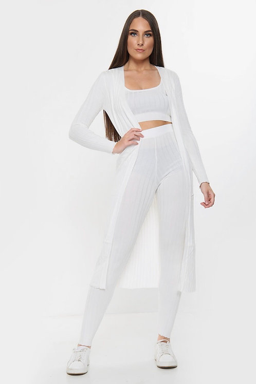 Arias White Three Piece Ribbed Co-Ord