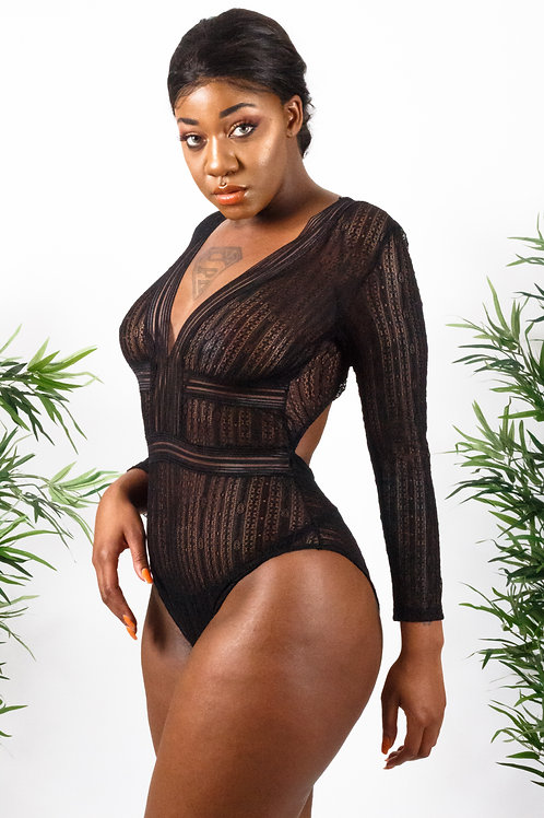 Kenish Black Deep V Neck Long Sleeve Bodysuit with Open Back