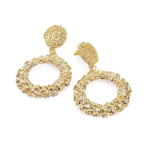 Tavan Gold Round Drop Earring