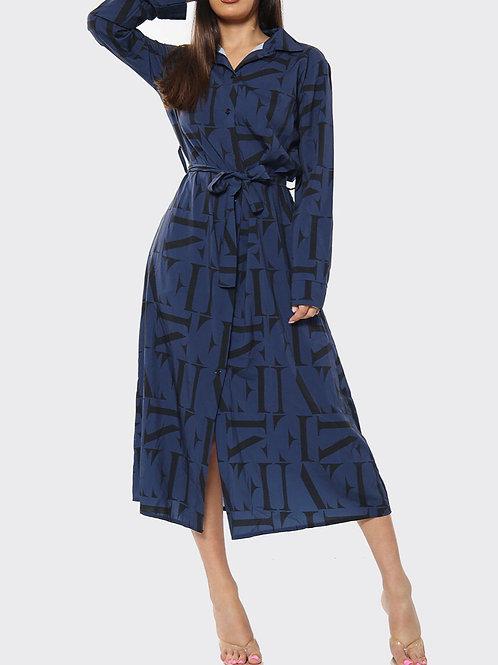 Yama Print Shirt Dress