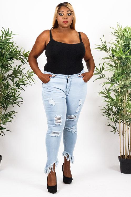 Tasha Light Blue Whiskered Destroy Stylish Skinny Jeans