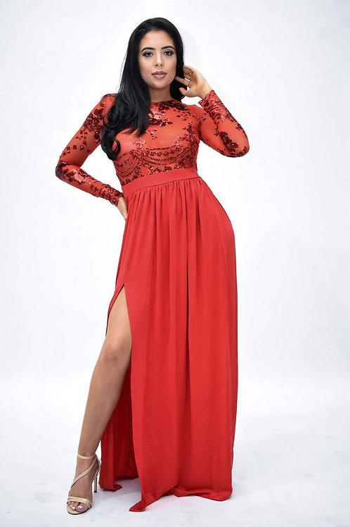 Mye Red Sequin Thigh Split Dress