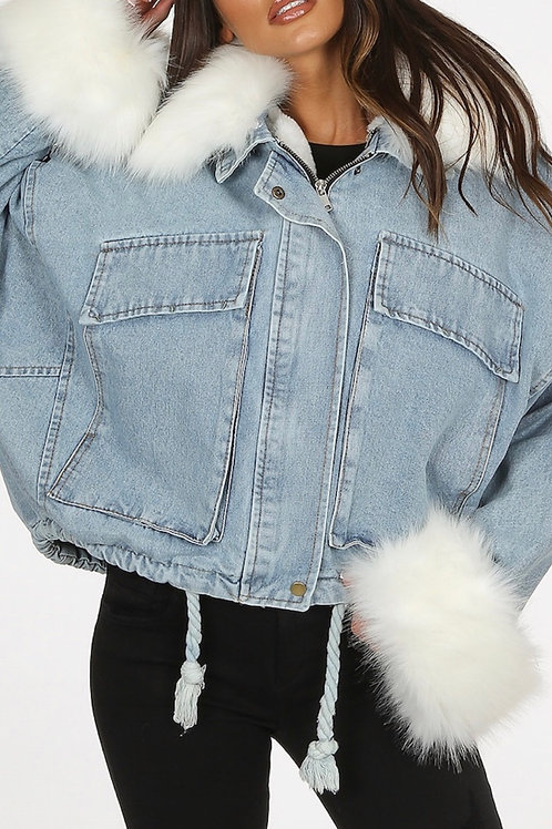 Veolla Mid Blue Oversize Fur Denim Jacket