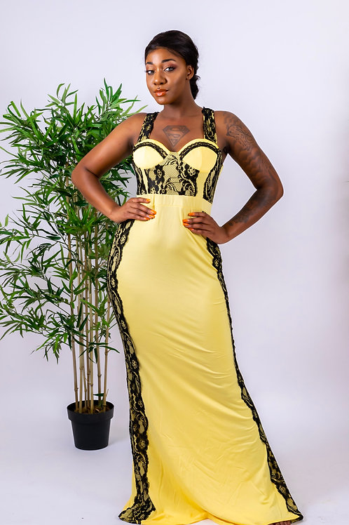 Yvonne Yellow and Black Lace Maxi Mermaid Dress