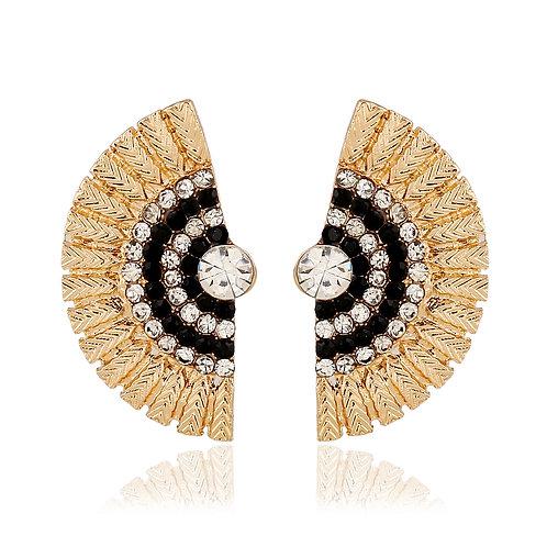 Korea Black Peacock Stud Earring