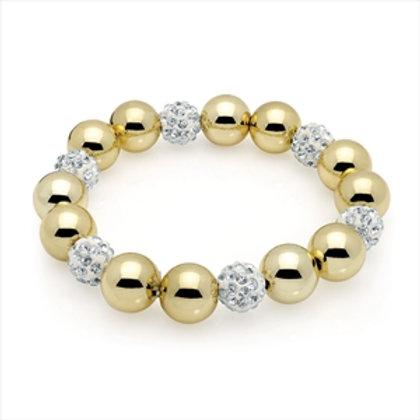 Row gold crystal ball elastic bracelet