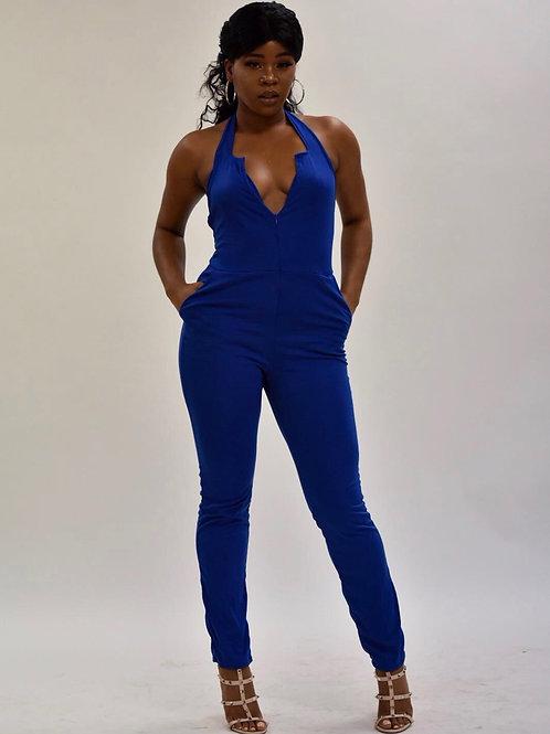 Polly Blue Halter V Neck Zipped Front Jumpsuit