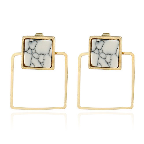 Marble Gold Square Stud Drop Earring