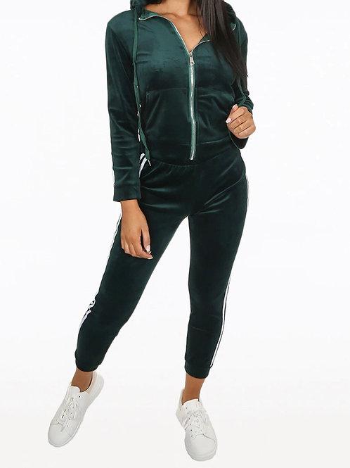 Donell Zip Up Velvet Activewear Tracksuit