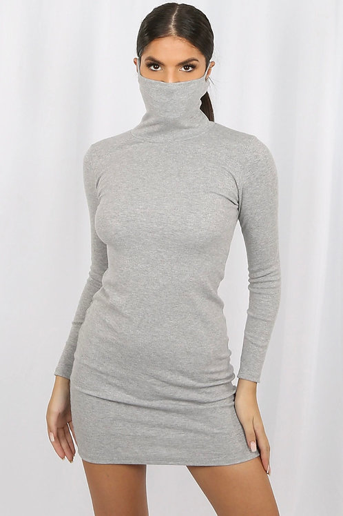 Sulta Ribbed High Neck Dress With Mask