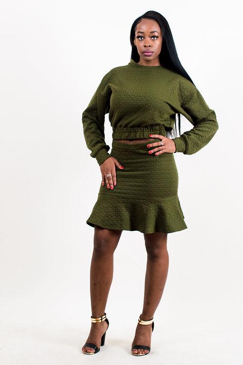 Molly Khakhi Bubble Textured Long Sleeve Top & Skirt Set