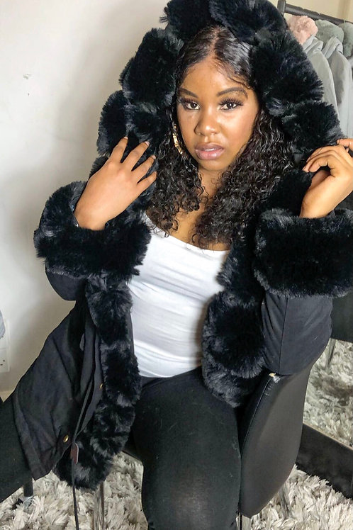 Bella Black Fur Hoody Puffer Jacket