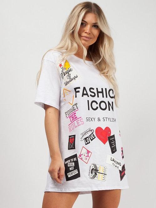 Shel White Oversized Fashion Icon T-shirt