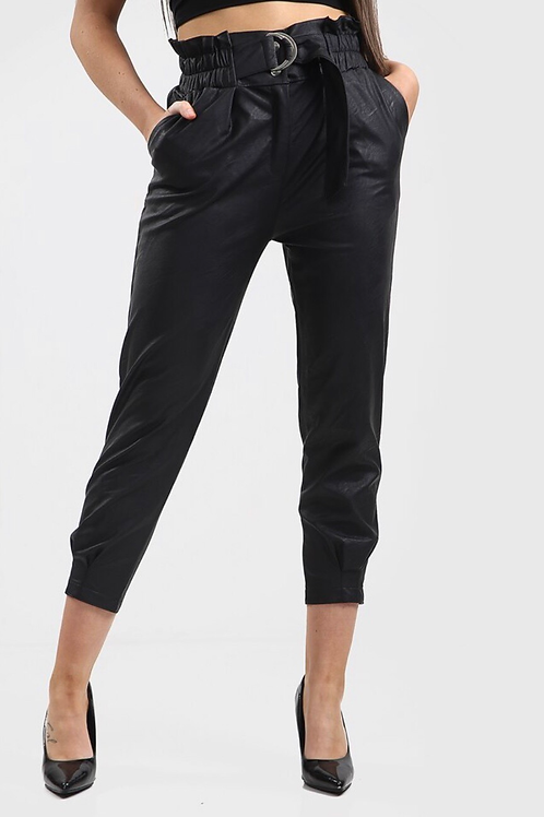 Harlem leather High-Waist Belted Trousers
