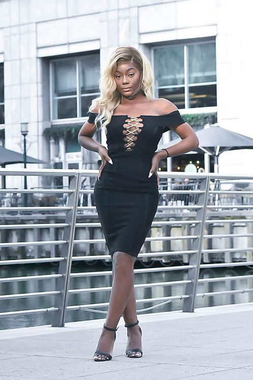 Tezz Gold Chain Crisscross Lace Up Black Bandage Dress